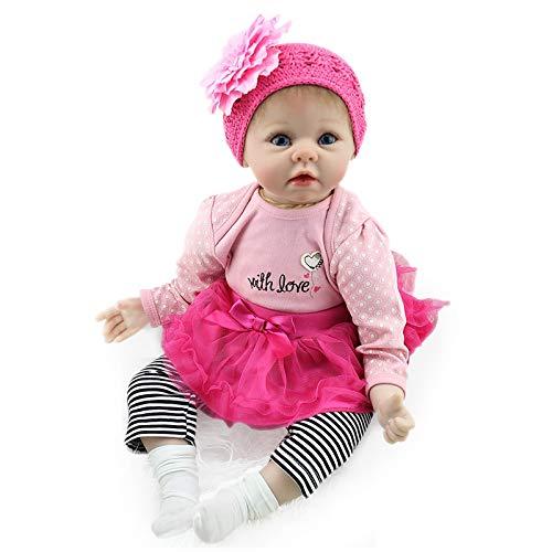 Nicery Reborn Baby Doll Rinato Bambino Bambola Vinyl Molle del Simulazione Silicone 22 Pollici 55cm Bocca Realistico Ragazzo Ragazza Bambina Giocattolo vivido 3 Anni + Pink Flower Headdress