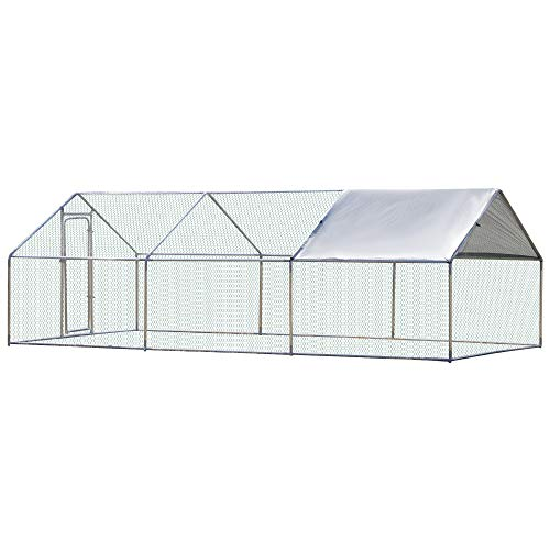 PawHut Galvanized Large Metal Chicken Coop Cage 3 Rooms Walk-in Enclosure Poultry Hen Run House Playpen Rabbit Hutch UV & Water Resistant Cover for Outdoor Backyard 118' L x 236' W x 77' H