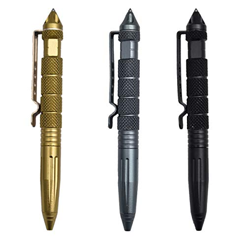 Saijer Tactical Pen,3 Stück Taktischer Kugelschreiber 3 Farben Multifunktional Aluminium mit Glasbrecher Tool Business Stift für Tactical Defense