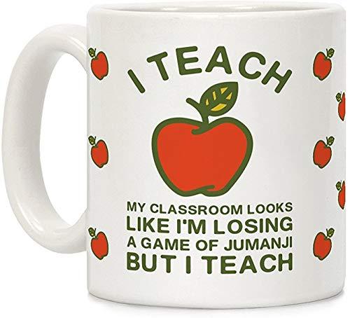 Koffie mok, Thee Beker, Ik Leer Mijn Klas Lijkt alsof Ik verlies een Spel van Jumanji Wit 11 Ounce Keramische Koffiemok