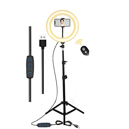Gingprous 12'' Selfie Ring Light with Stand Tripod, Ring Light with Phone Holder for Live Stream, Makeup, Vlogging, Photography, Tiktok, Dimmable LED Ring Light for Phones iPhone Android