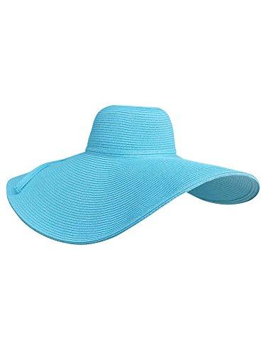 Luxury Divas Turquoise Blue Dramatic Floppy Hat with Oversized Brim