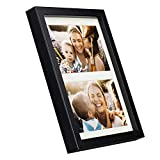 BD ART 17x23 cm (7x9-Inch) - 2 Aperture Black Collage Picture Frame with Mat for 2 Photos 4x6-Inch