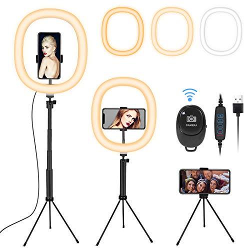 Ringlicht, Fostoy LED Selfie Ringleuchte stativ mit Fernbedienung, Dimmbare Tischringlicht mit 3 Farben und 10 Helligkeitsstufen für Vlogging, Tik Tok YouTube-Video, Make-up, Fotografie (12inch)