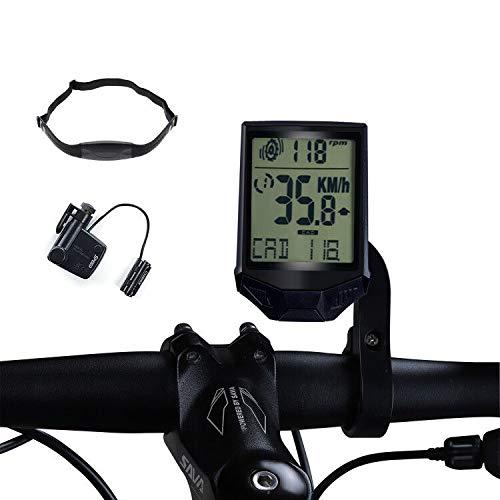 Frondent Velocímetro de bicicleta para ordenador, cuentakilómetros con cadencia, velocidad y frecuencia...