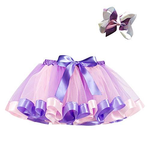 Kobay Kinder Mädchen Mesh Regenbogen Prinzessin Ballett Tutu Performance Rock + Bow Haarnadel Set(3-4T,Lila-1)