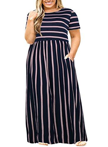 Nemidor Women Short Sleeve Loose Plain Casual Plus Size Long Maxi Dress with Pockets (Navy Stripe, 20W)