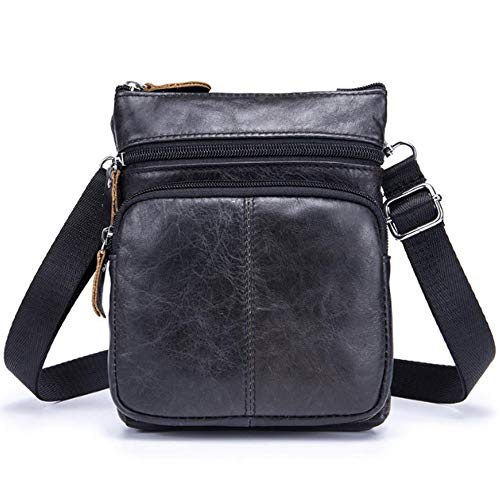 Heren mode schouder diagonaal pakket, Heren Schoudertas Lederen Crossbody Bag Business Perfunctory Unscharged Paard Hoofd Laag Lederen Draagbare Sporttas (Kleur : Zwart, Maat : M)
