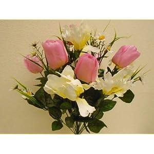 "Silk Flower Arrangements 22"" Bouquet, Pink Cream Mix Tulip Iris Bush 22 Artificial Silk Flowers LivePlant"