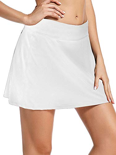Jessie Kidden Women's Athletic Stretch Skort Tennis Skirts with Shorts and Pockets for Running Tennis Golf Workout Sports (944 White S)