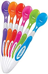 6 Munchkin Soft Tip spoons in a range of colours, our favourite budget baby led weaning spoons
