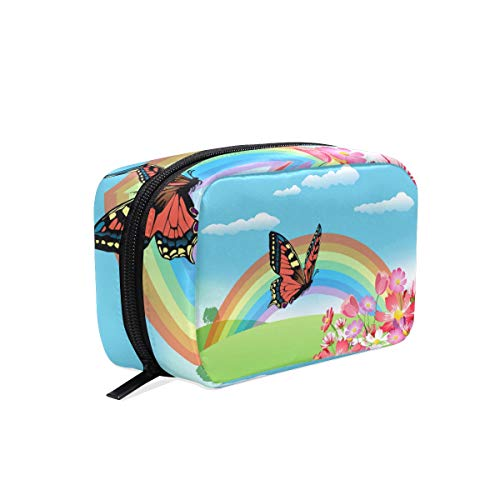 LUPINZ Trousse de maquillage pour femme et fille Motif papillon arc-en-ciel