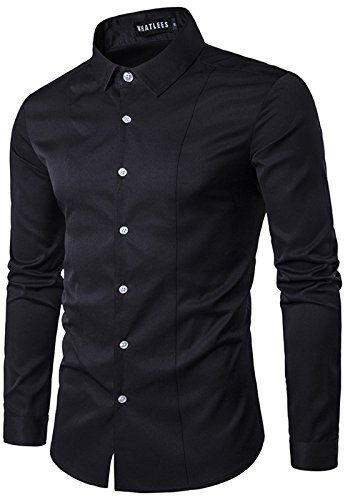 Whatlees Mens Solid Long Sleeve Slim Fit Button Down Dress Shirt B405-White-S