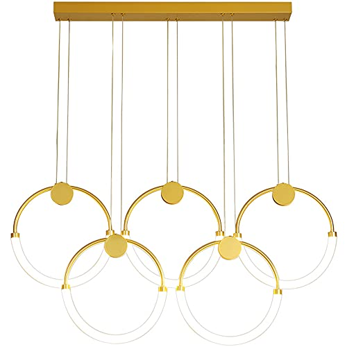 Moderno LED Luces colgantes, Regulable con control remoto, Metal Mesa De Comedor Lámpara 5-Anillo Lámpara colgante,Altura Ajustable Dorado Comedor Lámpara Ronda Colgante de luz (L100CM/54W)