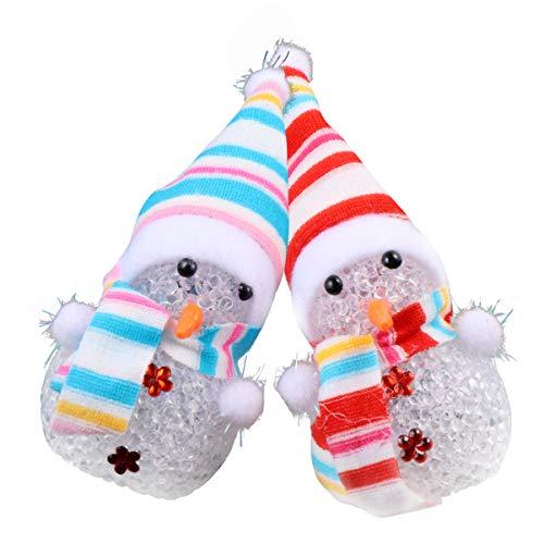 NUOBESTY 2 Stück Beleuchtete Schneemann Weihnachtslampe Kristallglas Schneebälle Nachtlicht Urlaub Glitzer Globus Weihnachtsbaum Hängen Dekoration