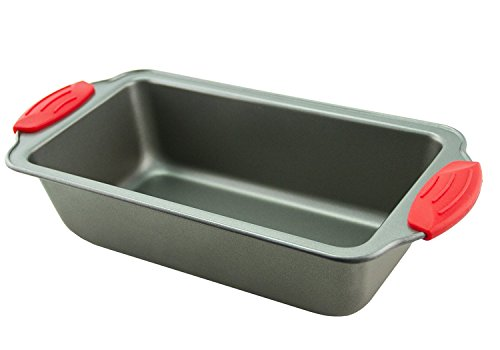 "Boxiki Kitchen Loaf Pan- Premium Non-Stick Steel 8.5-Inch Loaf Pan | Professional No-Stick Bakeware for Baking Banana Bread, Meatloaf, Pound Cake | 8.5"" x 4.5"" x 2.75"", with Silicone Handles"