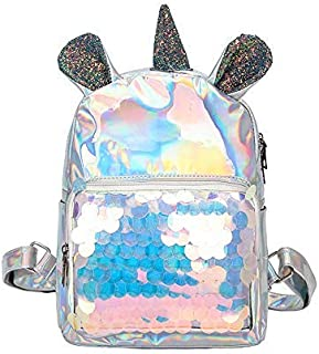 Backpack New Pu Sequin Backpack, Unicorn Student Cute Bag, Cartoon Outdoor Travel Waterproof Shoulder Bag 22 x 30 x 10cm Blue (Color : Silver, Size : 22 x 30 x 10cm)