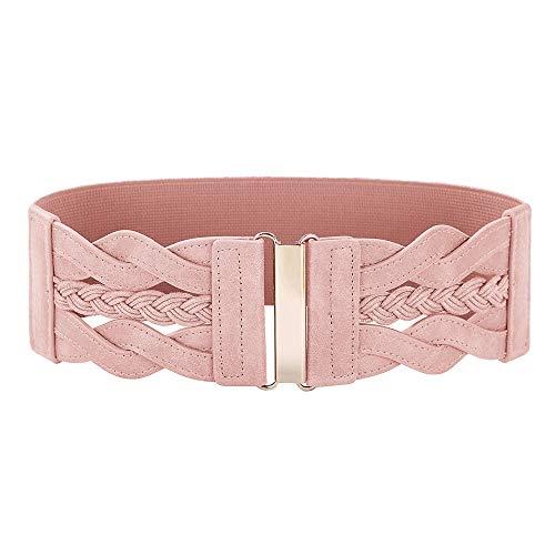 Women's Elastic Vintage Belt Stretchy Retro Wide Waist Cinch Belt(Pink,XL)