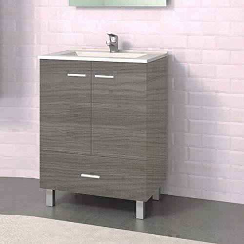 Mueble de baño con Patas y Lavabo de Porcelana - 2 Puertas y 1 Cajón amortiguado - El Mueble va MONTADO - Modelo RAKI (60 cms, Estepa)