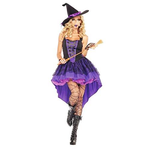 KESYOO Disfraz de Bruja de Halloween para Mujer Conjunto de Disfraces de Bruja para Juegos de Roles Que Incluye Guantes Y Gorro Talla L-Púrpura