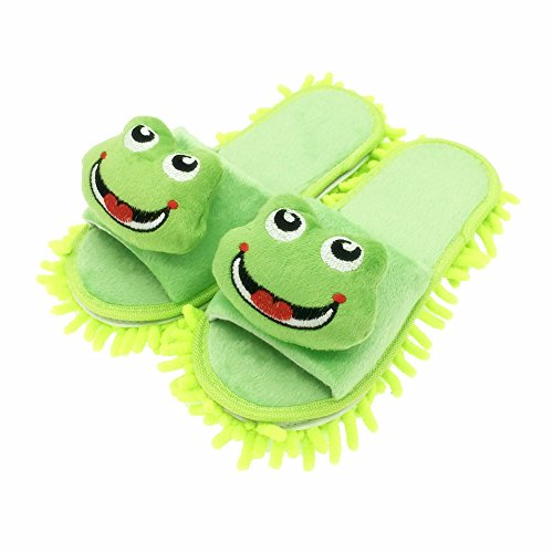 Lächelnden Frosch Hausschuhe mit Abnehmbar Wischmopp,Selric Reinigungswerkzeuge,reinigen den Boden in Bad, Büro, Küche 25cm [EU Größe:36-39]