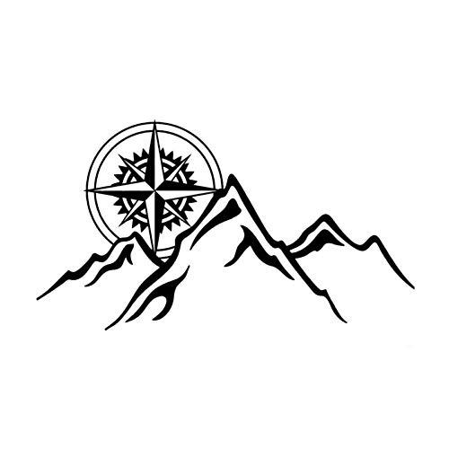 DSRLO Autocollant De Voiture 15.8 cm * 8.8 cm Boussole Montagnes Autocollant de Voiture personnalité Vinyle Autocollant Noir Argent