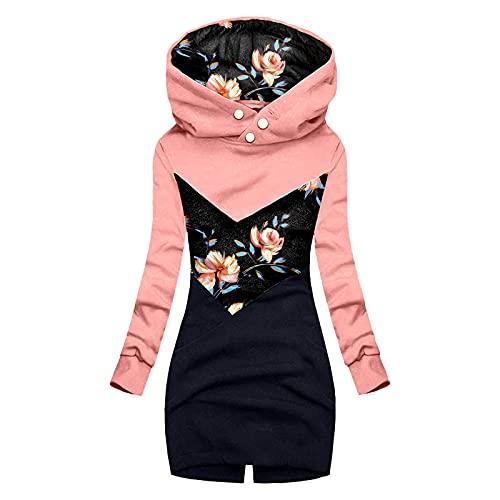 Lomelomme Damen Lange Sweatjacke Leicht Parka Große Größen Stoffjacke Herbst Winter Outdoorjacke mit Einstellbarer Kordelzug Spleißen Prints Kapuzenpullover Sweatshirt Jacke Winddicht Outwear