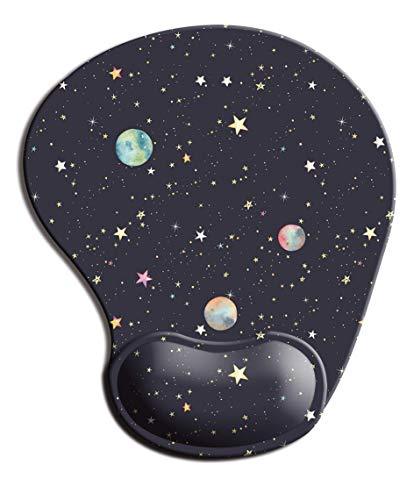 Dooke Ergonomic Mouse Pad with Wrist Support, Cute Mouse Pads with Non-Slip Rubber Base for Home Office Working Studying Easy Typing & Pain Relief Stars