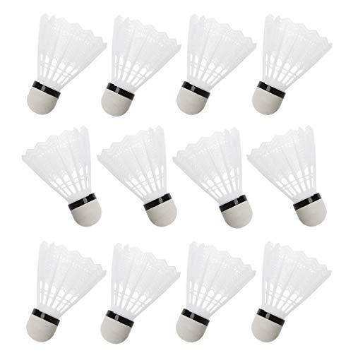 ER-NMBGH 12pzas Blanca Badminton Volantes De Plástico Cubierta Gimnasio Al Aire Libre Accesorios De Deportes, Pluma De Ganso De Alta Velocidad Badminton Bolas para Interior, Exterior, Deportes