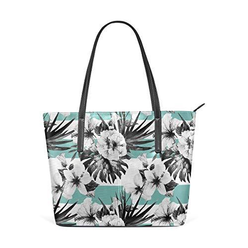 NR Multicolour Fashion Damen Handtaschen Schulterbeutel Umhängetaschen Damentaschen,Exotische Aquarell Hibiskus Blume Grafik Kunstdruck tropisch inspirierte Boho