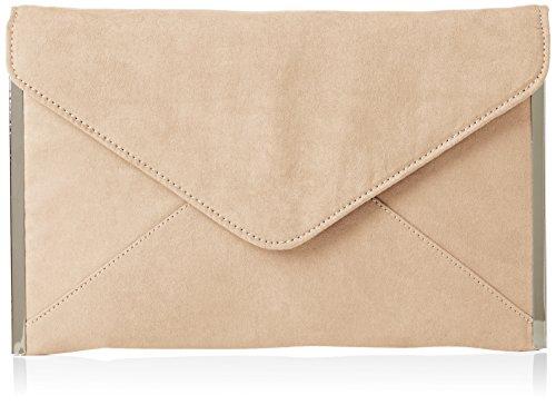 SwankySwans Damen Louis Suede Slim Envelope Party Prom Clutch Bag Tasche, Beige (Nude), One Size
