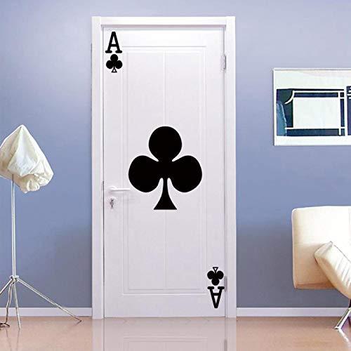 WZKED 3D Pegatinas De Puerta Naipes Negros 77X200Cm Vinilo Impermeable Extraíble Murales De Papel Decorativos para El Hogar Baño Sala De Estar Niños Dormitorio Decoración
