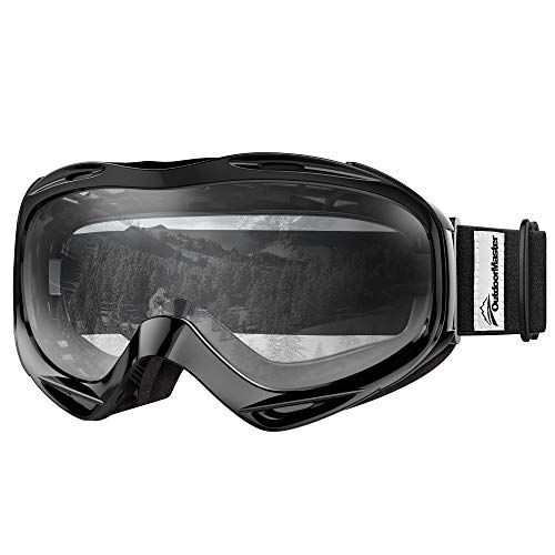 OutdoorMaster OTG Ski Goggles - Over Glasses Ski/Snowboard Goggles for Men, Women & Youth - 100% UV Protection (Black Frame + VLT 99% Clear Lens)