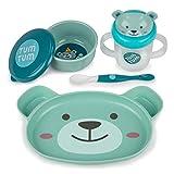 TUM TUM - Juego de cena para bebé para destete, incluye plato de succión para bebé, cuenco para destetar, cuchara de destete y taza para bebé (oso Boris)