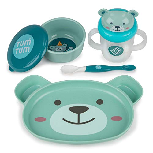 TUM TUM Baby Dinner Set for Weaning, Baby Weaning Set inc. Baby Suction Plate, Bowl, Spoon & Sippy Cup (Boris Bear)