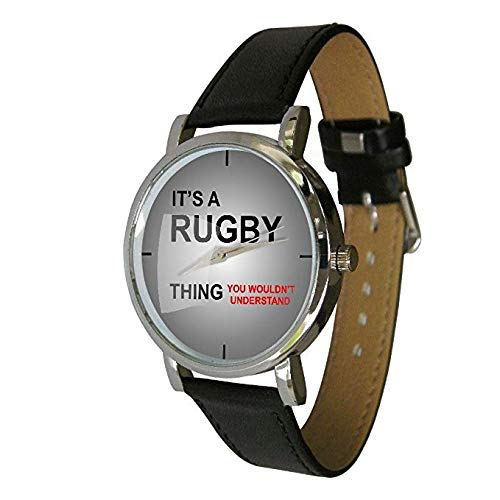 Your Watch Design Unisex Uhr. Erwachsenengröße. Analog Quarz mit Leder Armband, Rugby Thing
