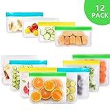 USETCC Sacchetti Riutilizzabili per Alimenti, 12 Pezzi Sacchetti Freezer Riutilizzabili, S...