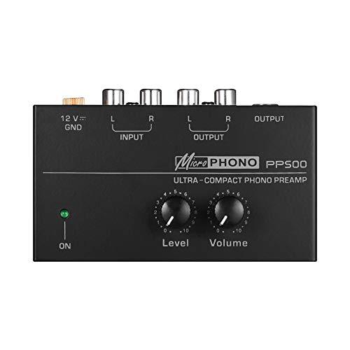 Muslady Phono Preamplificatore Ultra-compatta con Controlli di Livello e Volume Ingresso e Uscita RCA 1 4 Interfacce di Uscita TRS Nero