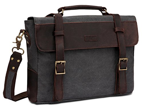 Vaschy Satchel Bag Mens, Vintage Canvas Messenger Bag Leather Shoulder Bag for 14in Laptop Business Briefcase School Bag -Gray