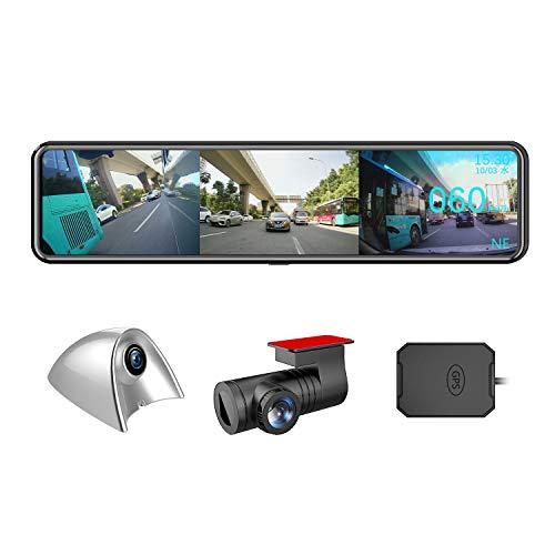 AKEEYO ドライブレコーダー ミラー型 12インチ 3カメラ 2021年更新版 サイドミラー付き サイド死角確認 穴開けなく 3カメラ同時録画 超ワイド12インチ大画面 前1080P後1080Pサイド1080P/720P カメラ 死角なし HD 200万画素 サイドカメラ 最適な右側カメラ仕様 GPS搭載追跡 HUDモード ボイスコントロール 前後サイド同時録画表示 前124°後140°側130°広角レンズ デジタルインナーミラー 日本全国LED信号機対応 SONYセンサー STARVIS スーパー暗視 ドラレコ リバース連動 地デジ干渉対策 IPSタッチパネル ループ録画 衝撃感知録画 駐車感知録画 Gセンサー 32GBカード付属 日本語説明書 12ヶ月安心保証 AKY-X3GTL-NV