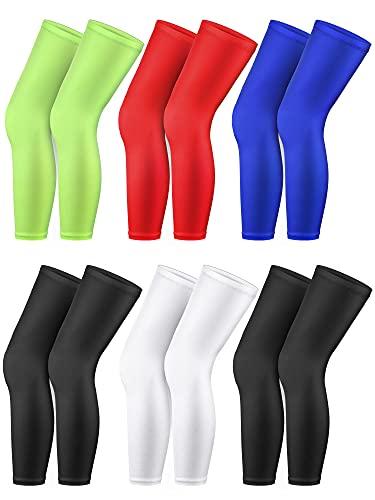 6 Pairs Long Leg Sleeves Compression Leg Full Long Knee Sleeves Elastic Sports Long Leg Sleeves for Men Women Running Basketball Football Cycling, 5 Colors