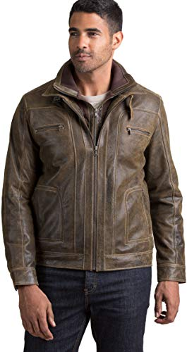 Overland Sheepskin Co Memphis Lambskin Leather Bomber Moto Jacket