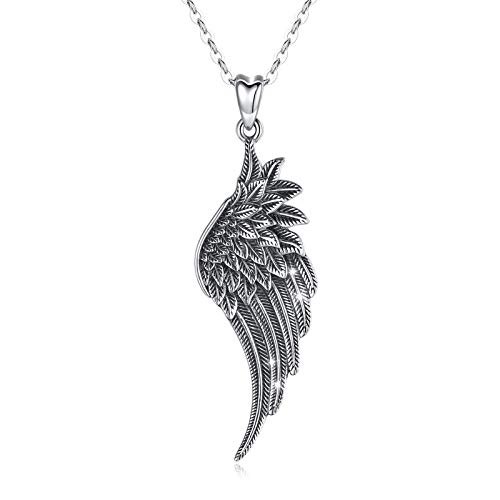 LOOVE Angel Wing Necklace 925 Sterling Silver Guardian Angel Necklace Wing Pendant with 18' Chain, Charm Angel Jewelry for Women Girls