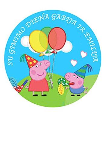 Peppa Pig et George Décoration pour gâteau personnalisée Glaçage Sucre Papier 19,1cm