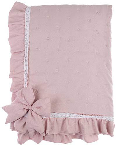 Boutis Blanc Mariclò - Juego de cama de matrimonio con lazo y lazos, color rosa