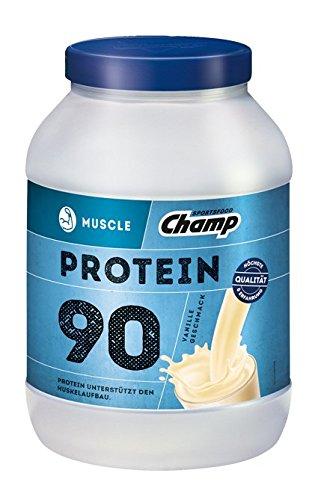 Champ Muscle Protein 90 Eiweißshake (780 g) – Protein Shake mit Vanille-Geschmack – Eiweißpulver mit 36 g Protein pro Portion – enthält Vitamine – ohne Aspartam