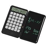 Tableta de escritura para calculadora de escritura LCD borrable de 6,5 pulgadas con bolsillo de 12 dígitos, calculadora estándar 2 en 1, función portátil recargable para estudiantes de oficina