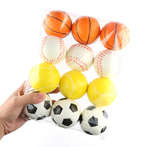 Catkoo 12 Stücke Anti Stress Bälle Mini Weiche Basketball Fußball Tennis Quetscht Baby Spielzeug, Perfektes Training Kinder Intelligenz, Entwickeln Gehirn Geschenke