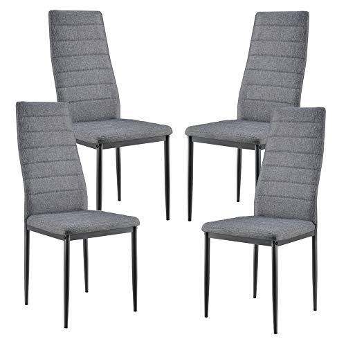 en.casa Set de 4X sillas de Comedor Elegantes tapizadas de Tela 96 x 43 x 52 cm 4X Sillas de diseño