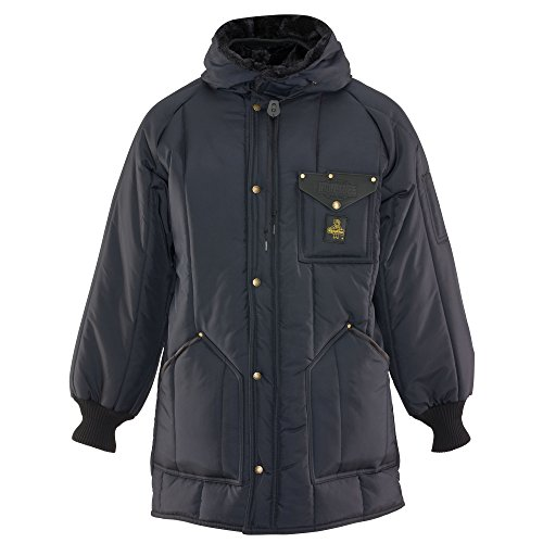 RefrigiWear Men's Iron-Tuff Ice Parka Water-Resistant Insulated Coat with Hood (Navy Blue, Large)